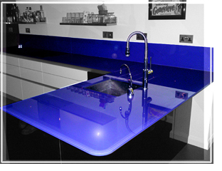 coloured glass worktop, morocco